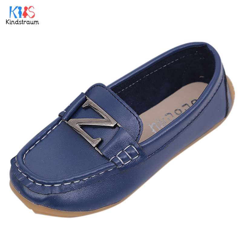 2017 New Spring Kids PU Leather Loafers Children Metal Cow Muscle Bottom Slip-On Shoes 4 Colors Casual Flats for Boys,EJ089
