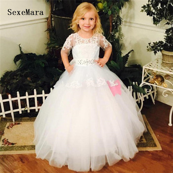 White/Ivory Flower Girls Dress High Quality Ball Gown Puffy Tulle Lace with Ribbon Girls Pageant Dress First Communion Gown