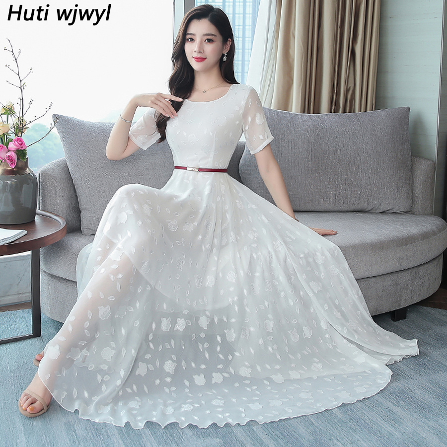 2019 Solid Chiffon Beach Midi Dresses Summer Vintage 4XL Plus Size Boho White Maxi Sundress Elegant Women Bodycon Party Vestidos