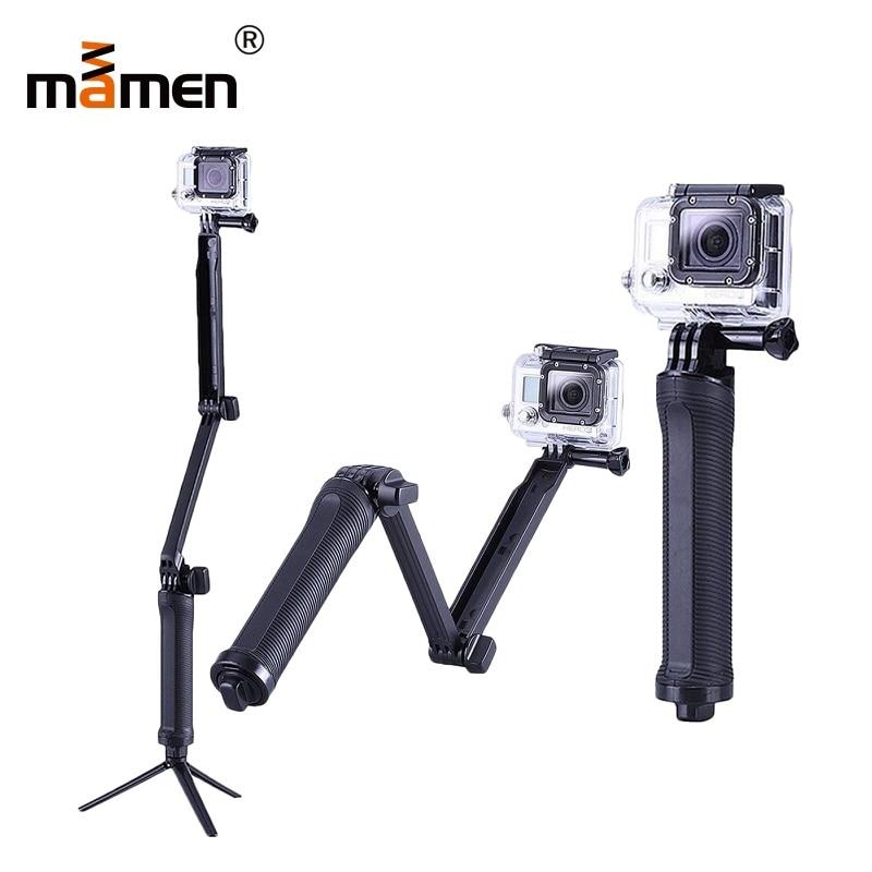Mamen For Gopro Tripod Stand Hero 4 3 Way Sport Camera Tripod Monopod Selfie Sticker Foldable Mini Tripod 51cm