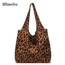01797c84017e DIINOVIVO Новые Модные леопардовые сумки для женщин 2018 большая сумка  женская винтажная Вельветовая Сумочка женская повседневна.