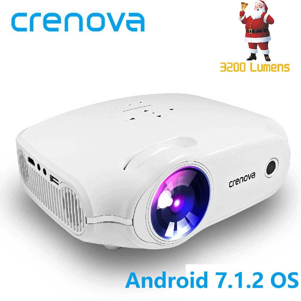 CRENOVA 2018 Mais Novo LED Projetor Para Full HD 4 k * k 2 7.1.2 do SISTEMA OPERACIONAL Android Projetor de Vídeo Home Theater filme Beamer Proyector