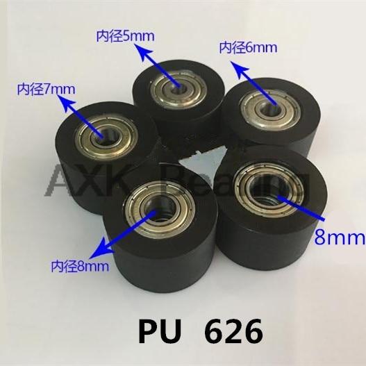 626 PU polyurethane plastic bag double plastic bag bearing guide pulley wheel nylon platen roller BK3030 5*6*7*8*10*30*20 mm pu 685 screw pulley bearing 5 16 5 mm 1 pc drawer roller mute wheel pu685 m4 6 engineered plastic bearings