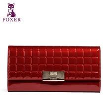 FOXER Berühmte 2016 Marke Frauen Leder Lange Brieftasche Luxus Weiblichen Handtasche