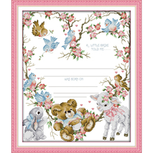 Joy sunday cartoon style Birth certificate free counted cross stitch kits for beginers needle stitching
