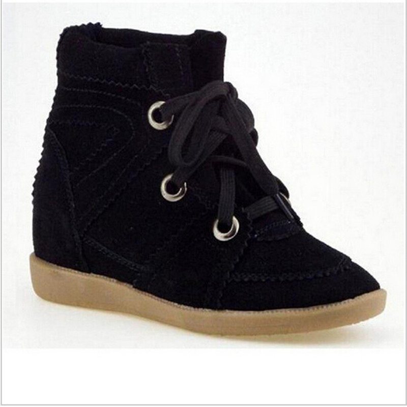 2016 Bobby Winter Wedges Women Ankle Boots Genuine Suede Women Casual Shoes Breathable Height Platform Shoes