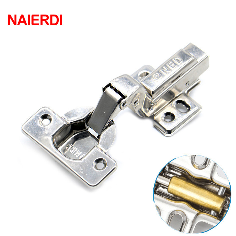 NAIERDI 10PCS Super Strong 40MM Cup Hinges Stainless Steel Hydraulic Copper Core Hinge Cupboard Cabinet Door Furniture Hardware stainless steel hydraulic hinges for cabinet cupboard closet wardrobe furniture door 3 types optional