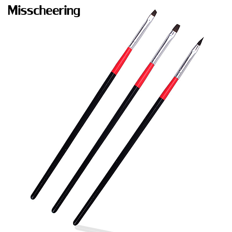 3pcs/set Professional Acrylic UV Gel Drawing Painting Nail Art Brush Kit Builder Manicure Tools