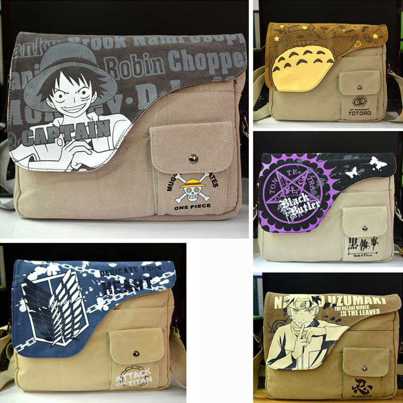 Anime Print Bag Sword Realm Kuroshitsuji Attack On Titan Totoro NARUTO One Piece Student Nylon  Shoulder Bag  Men Cool Backpack