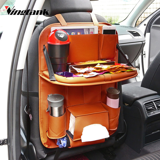 Vingtank Lunxury Leather Car Back Seat Organizer Pockets Folding Backseat Hanging Holder Storage Bags Tissue