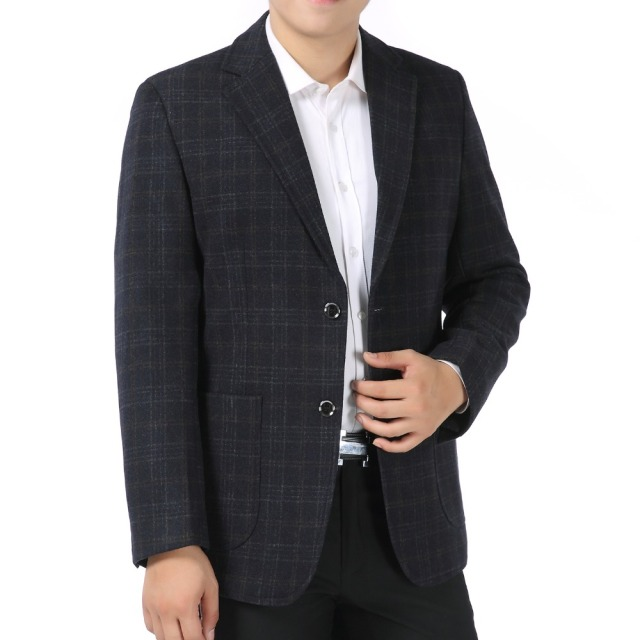 Men Elegant Blazers Wool Suit Jackets Classical Plaid Woollen Blazer Man Gray Khaki Suit Coat Male Check Pattern Blazer Hombre