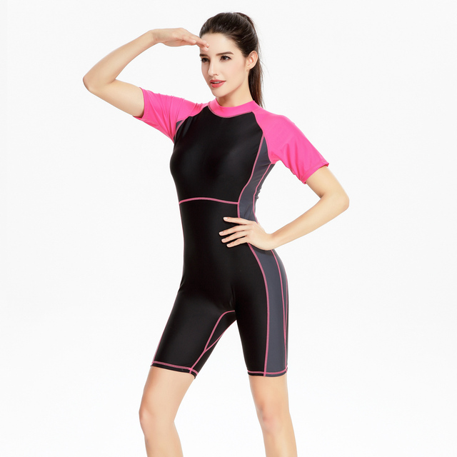 8a73a55b1611a Professional Short Sleeve Swimsuit Women 2017 One Piece Swimwear Sports  High Neck Competition Tight Knee Skin