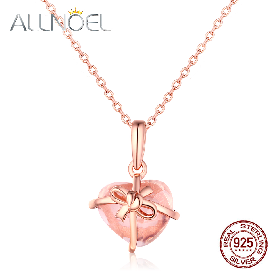 ALLNOEL 925 Sterling Silver Necklaces Pendant For Women Rose Gold Rose Quartz Gemstone Luxury Fine Jewelry Trend Link Chain Gift