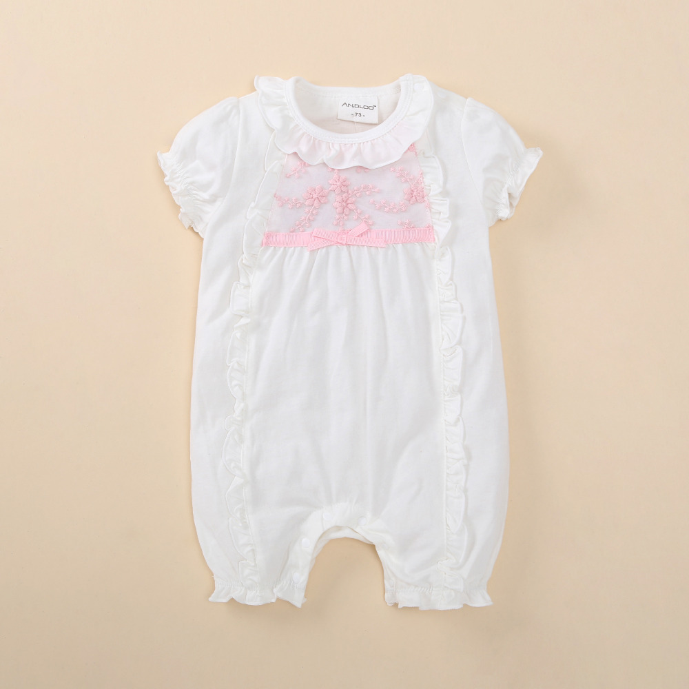 newborn baby girl clothes lace flowers jumpsuits white cotton soft baby  romper 7-7 months summer baby clothing set bebe roupas