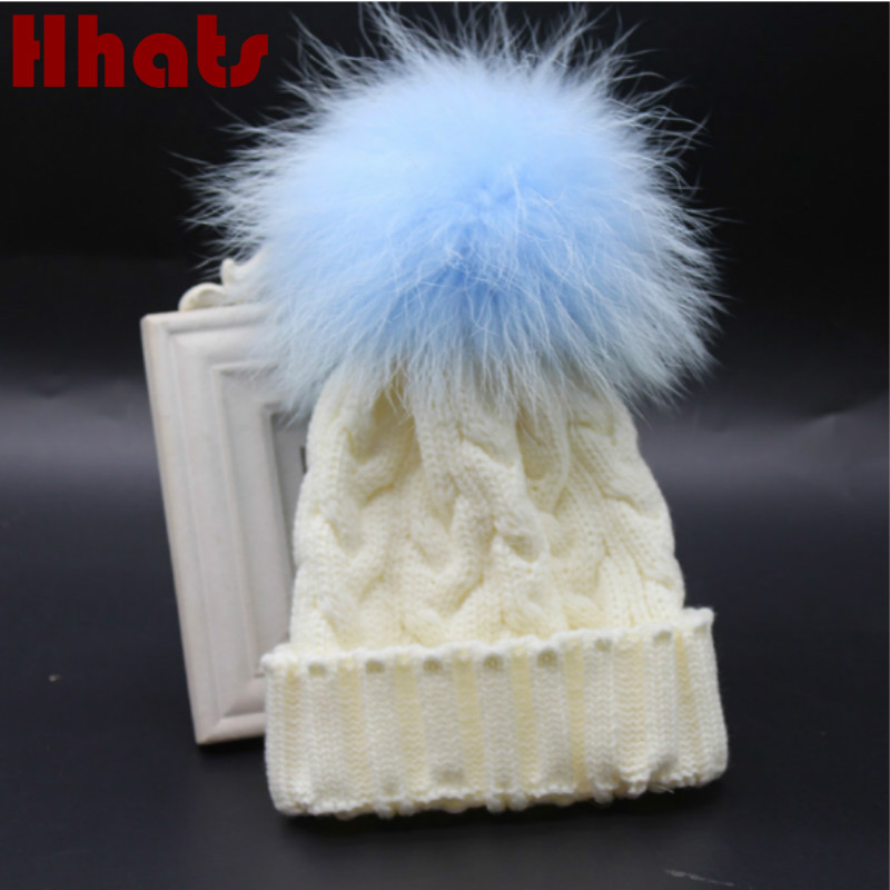 Which in shower kids real mink fur pompom winter beanie hat warm knitted cable children hat cap with removable pom pom ball top real cable ott60 1m20
