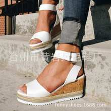 цена на 2019 Summer New Women Sandals High Heels Wedges Platform Shoes Woman Fashion Casual Gladiator Buckle Strap Solid Plus Size 35-43
