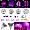 LED Plant Grow Light 24W 36W 52W 58W 220V/110V E27 Led Grow Lamps For Plants Horticulture Hydroponics And Aquarium Free Shipping