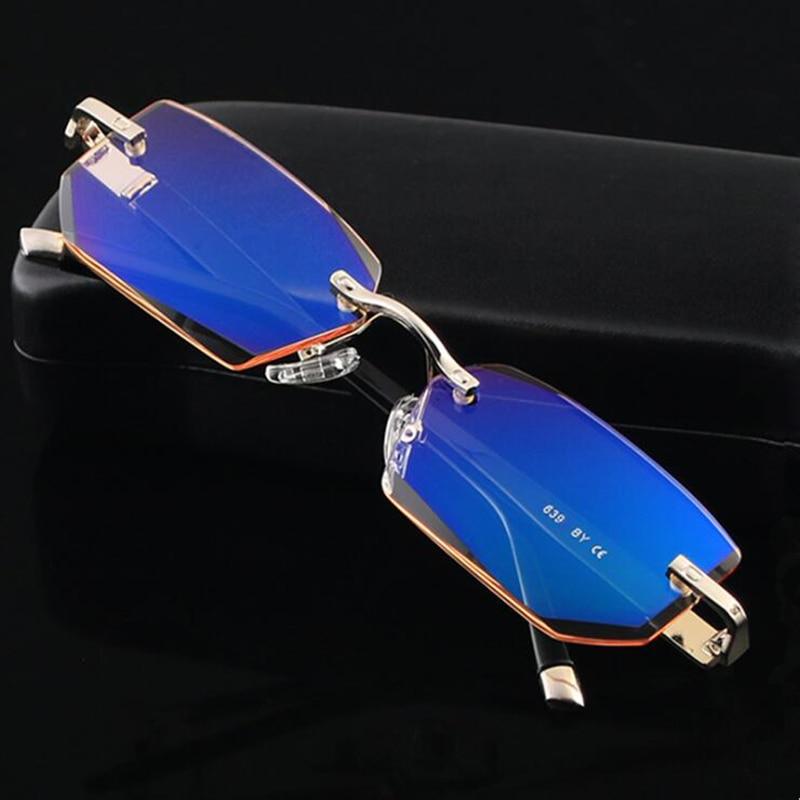 GLTREE High Quality Diamond Cut Ultralight Frameless Reading Glasses Anti-blue Light Radiation Vision Glasses Read Glasses Y14