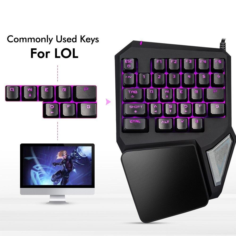 Programmable Keys Delux T9 Pro Single Handed Game keyboard one hand Ergonomic Gaming Keypad For PUBG