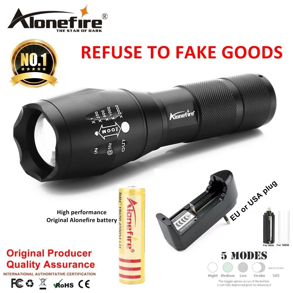 AloneFire E17 LED Flashlight High powe CREE XML T6 5000LM Waterproof Zoomable zaklamp Torch light for18650 Rechargeable Battery alonefire e17 xm l t6 5000lm aluminum waterproof zoomable cree led flashlight torch light for 18650 rechargeable battery or aaa