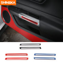 SHINEKA Newest Interior Door Handle Trims Inner Grab Decoration ABS Car Styling For Ford Mustang 2015+  Free Shipping