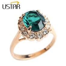 928ad2ad5b9d Anillos de boda Esmeralda creados por USTAR para mujer joyería de circonio  verde piedra semipreciosa anillos de color oro rosa m.