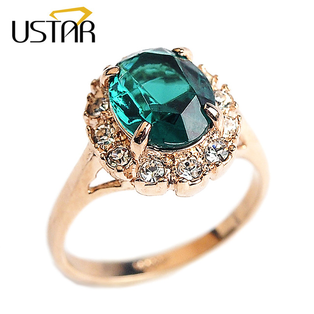 Emerald Wedding Band.Us 2 34 50 Off Ustar Created Emerald Wedding Rings For Women Zircon Jewelry Green Semi Precious Stone Rose Gold Color Rings Female Anel Gift In