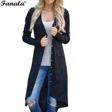 FANALA Women Cardigan 2016 Casual Knitted Sweater Coats Fashion Autumn Winter Long Sleeve Elegant Female Cardigans