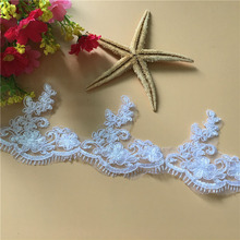 1Yard Lace Trims Pure White Exquisite Embroidery Floral Trimmings Fabric For Wedding Dresses DIY Garment Accessories