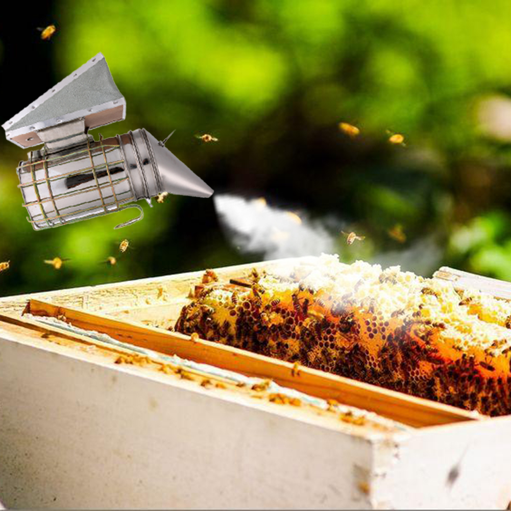 Silver Bee Keeping Smoker Stainless Steel Bee Hive Smoker Small Galvanized With Heat Shield Board Beekeeping Equipment Tool E5M1
