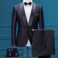 Classic Vintage Suits For Men Black Italian Style Luxury Brand Formal Wedding Business Office Suit Jacket Pants Male Clothing