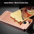Para meizu pro6 pro5 caja de lujo del metal espejo de acrílico para meizu pro6 pro5 mx5 mx6 meilan max caja del teléfono móvil funda cubierta
