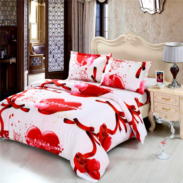 Lovely Red Heart Bedding Set Comfortable Bed Sheet Duvet Cover Pillow Case Linens Queen King Size Sheets Home Textile F