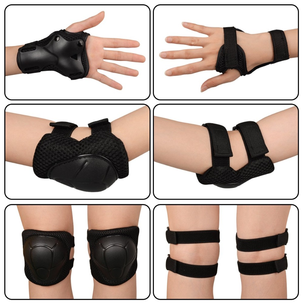 MQUPIN New 6 In 1 Set Wrist Elbow Knee Pads Adult Child Roller Skates Skateboarding Skiing Protection Set Extreme Sports Safe
