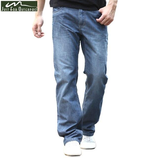 Verão 2018 Nova Marca de Jeans Homens Moda Casual Solta Calça Jeans Reta  Elástica Respirável Confortável a0881d6ca25