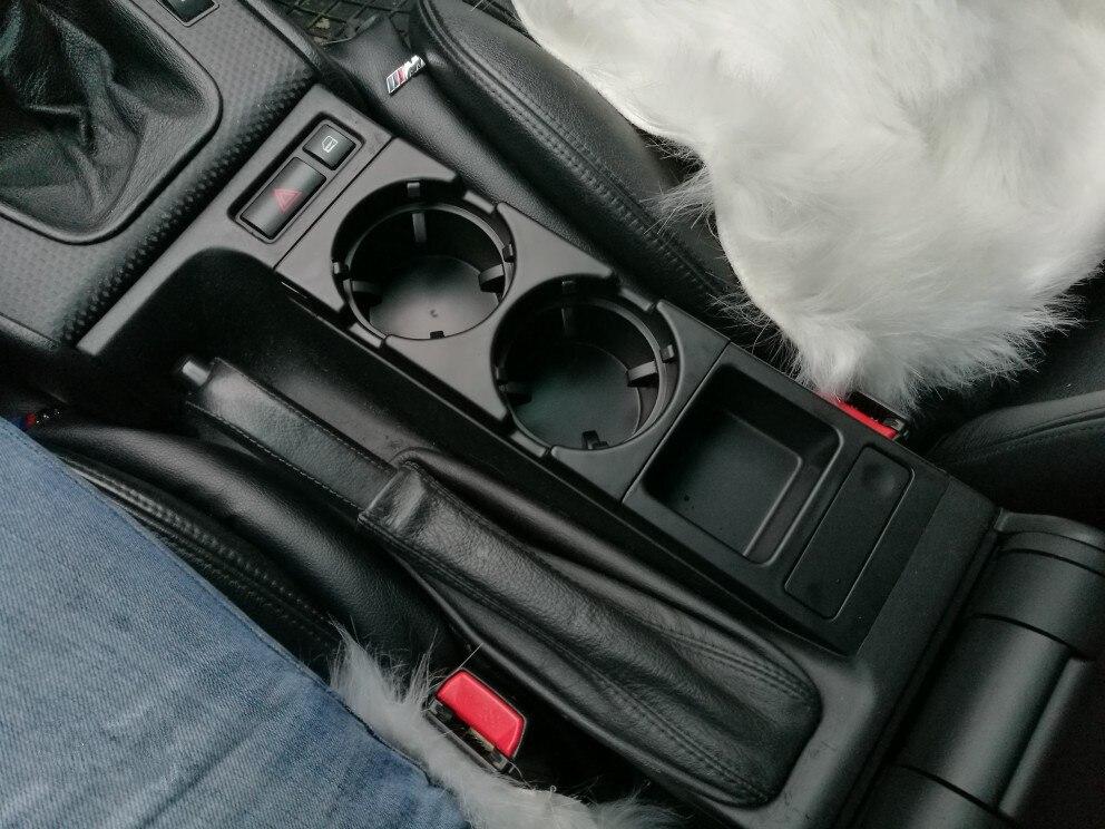 Cremalheira do copo do console central dianteiro do carro do furo dobro/caixa da mudança para bmw e46: preto