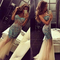 Long Rhinestone Mermaid Bridesmaid Dresses