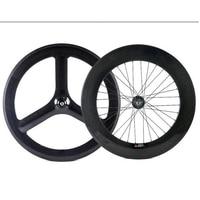 Full carobn wheels track carbon wheel clincher road front 3spoke wheel rear 88mm bike wheel 3 spoke