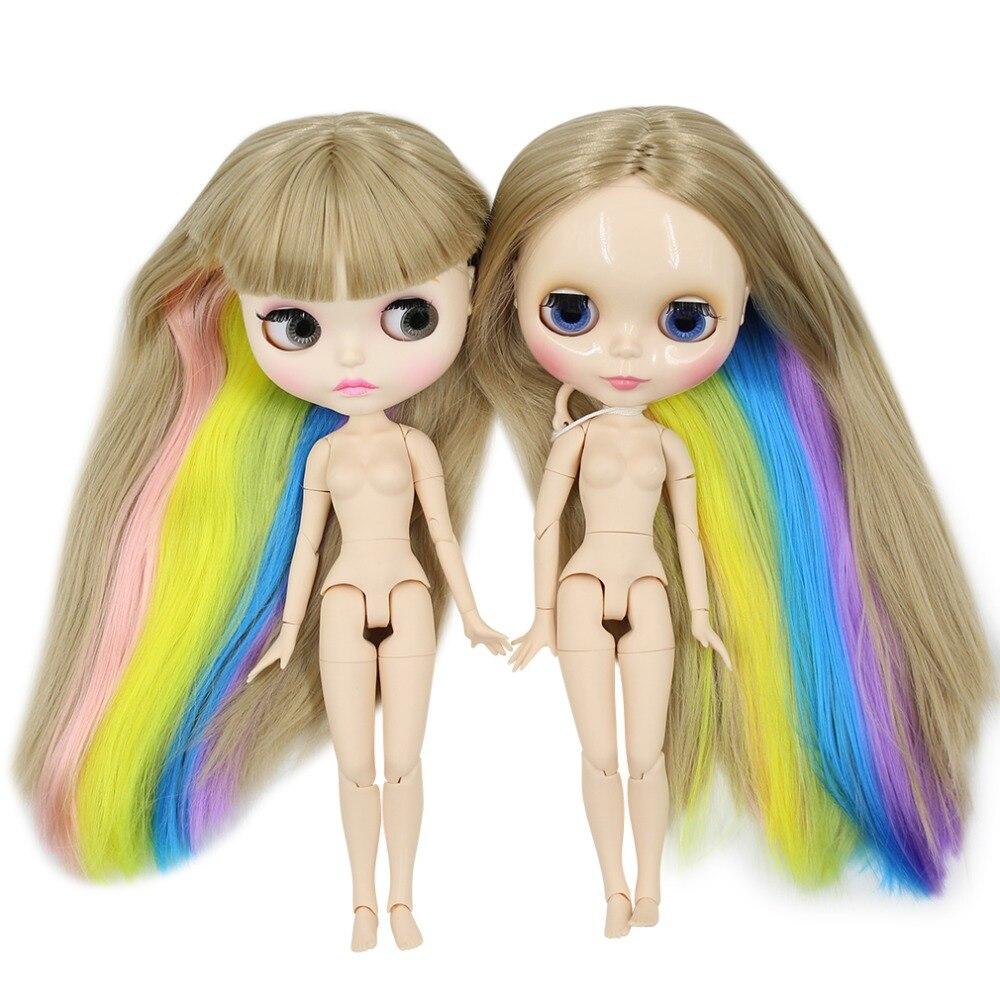 Oyuncaklar ve Hobi Ürünleri'ten Bebekler'de Fabrika blyth doll düz renkli saç gökkuşağı saç twins, yeni mat yüz veya parlak yüz ortak vücut 3227/3208/1010/6208/7216'da  Grup 1