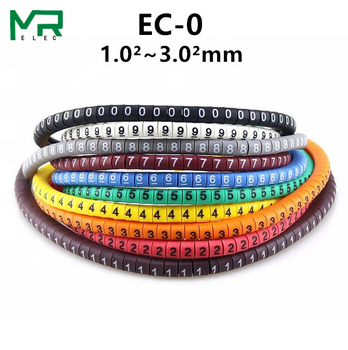 500PCS  EC-0 Colored Cable Wire Marker 0 to 9 For Size 1.5 sqmm - discount item  5% OFF Electrical Equipment & Supplies
