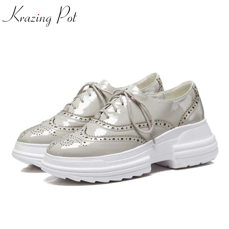 Krazing Pot genuine leather brand shoes round toe sneaker for women increased high street fashion platform