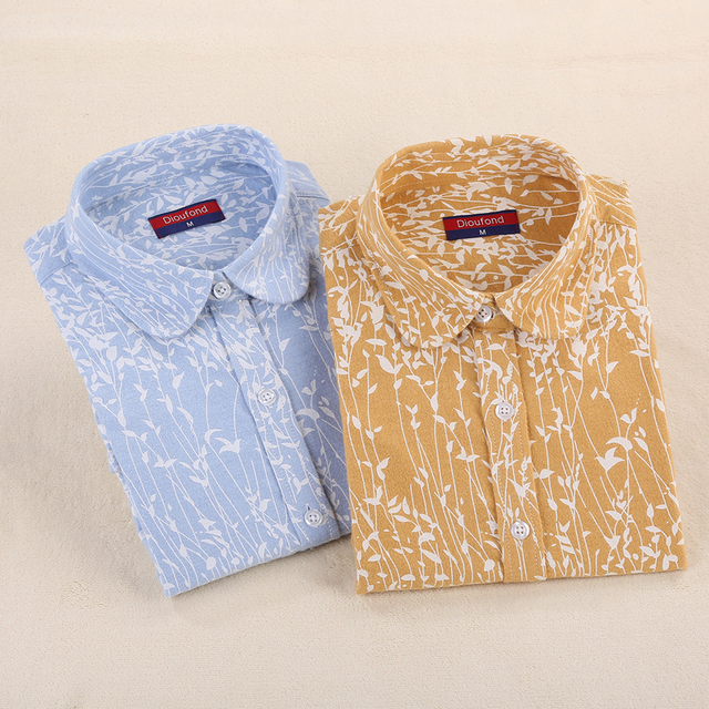 Dioufond Blue Flannel Shirt Long Sleeve Casual Printed Blouse Turn