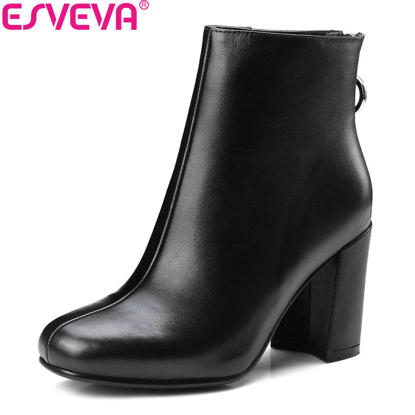 ESVEVA 2018 Women Boots Vintage Style Ankle Boots Square High Heel Square Toe High Heels Ladies Fashion Boots Shoes Size 34-39