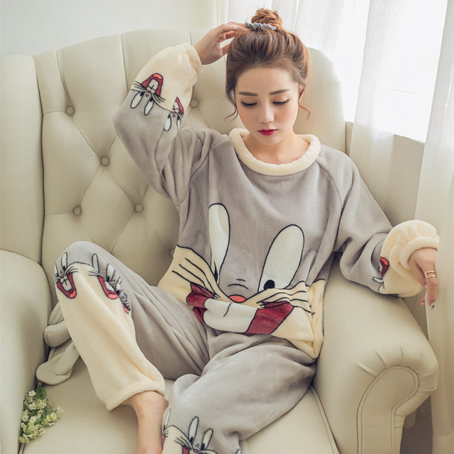 2016 Autumn Winter Women Pajamas Set Sleep Jacket Pant Sleepwear Warm Nightgown Female Cartoon Bear Animal Pants Sleepwear