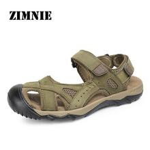 ZIMNIE High Quality Sandal Men Summer New Arrival Slippers Genuine Leather Casual Sandals Men Brand Shoes Men Big Size 38-48