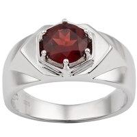 Red Garnet Men Ring 925 Silver Band 7.5mm Crystal Gemstone 6 prong Design Jewelry January Birthstone Birthday Gift R515RGN