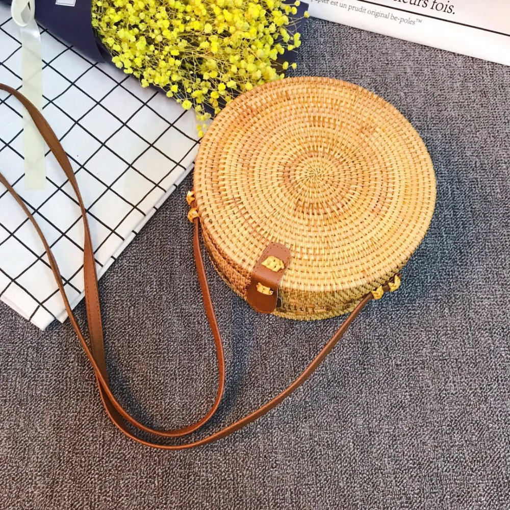 Bohemian Round Straw Beach Bag Bali Vintage Handmade Crossbody Leather Bag Girls Circle Rattan Bag Small Shoulder Bag