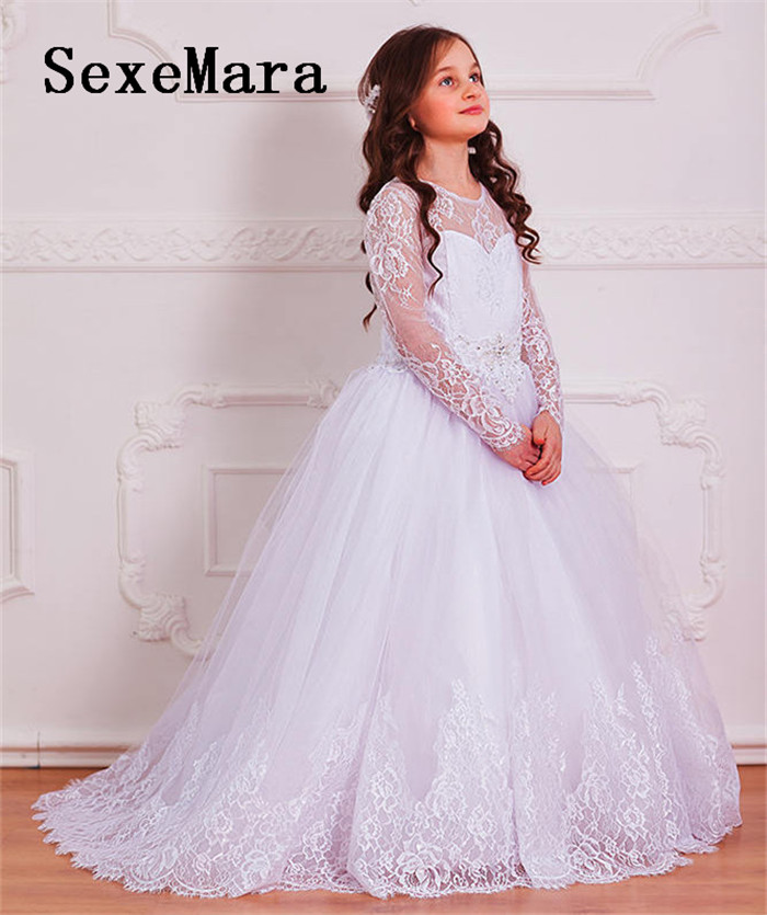 White Ivory Girls Dresses Lace First Communion Dress Pageant Gown Lace Long Sleeves Flower Girl Dress for Wedding adriatica часы adriatica 1112 b264q коллекция gents