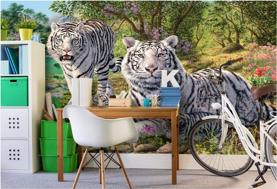 Custom photo 3d wallpaper Non-woven mural Green forest white tiger decoration painting 3d wall murals wallpaper for walls 3 d