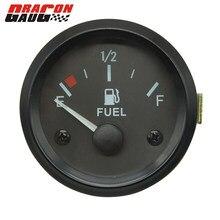 Medidor de combustível universal dragon medidor 52mm, medidor de combustível de carro preto concha branca luz de fundo medidor de aro sendor de aro automotivo 12v